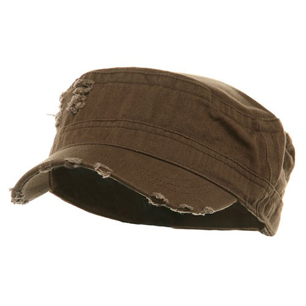 Adjustable Herringbone Army Cap - Brown - Hats and Caps Online Shop - Hip Head Gear