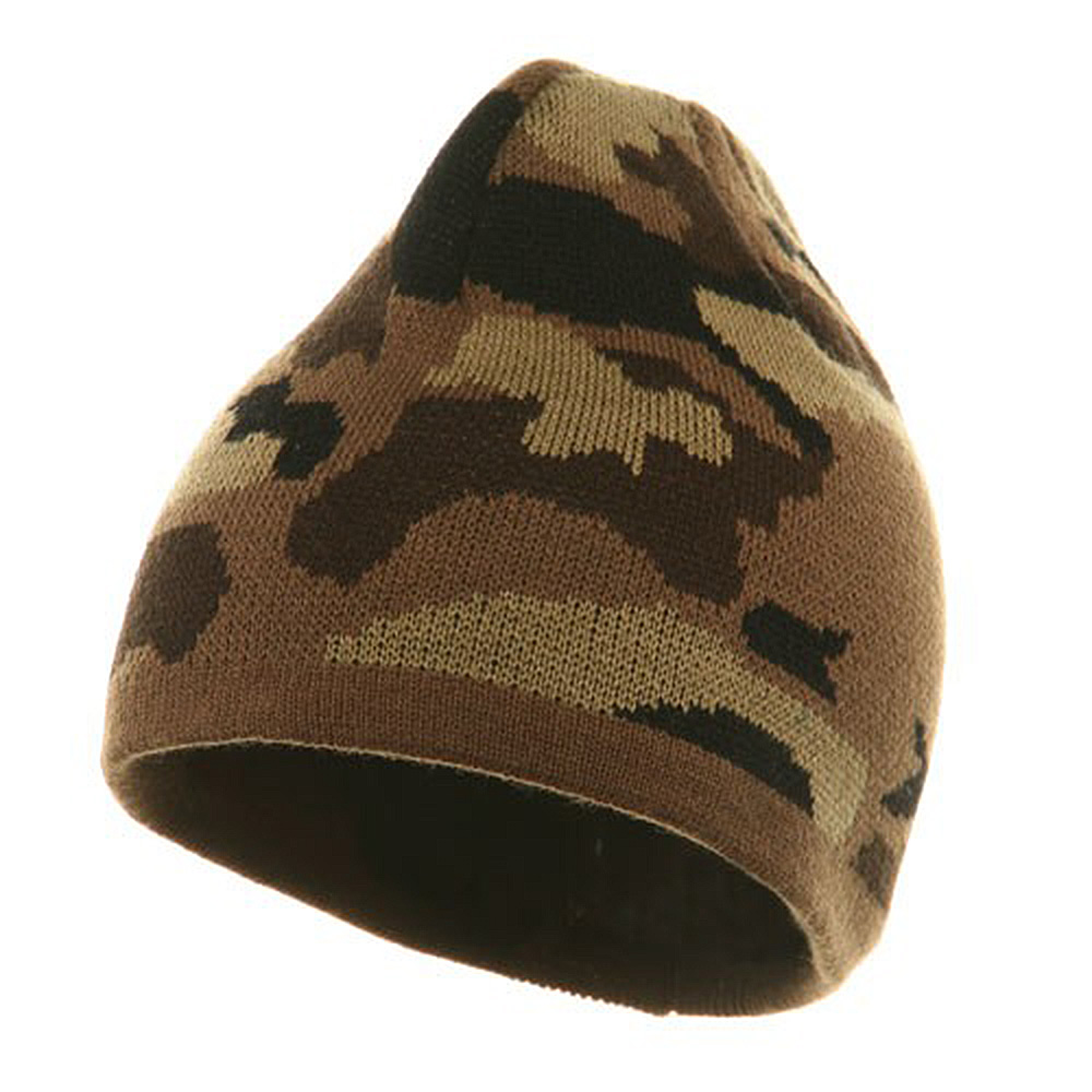 Camo Design Beanie-Camel Brown Khaki - Hats and Caps Online Shop - Hip Head Gear
