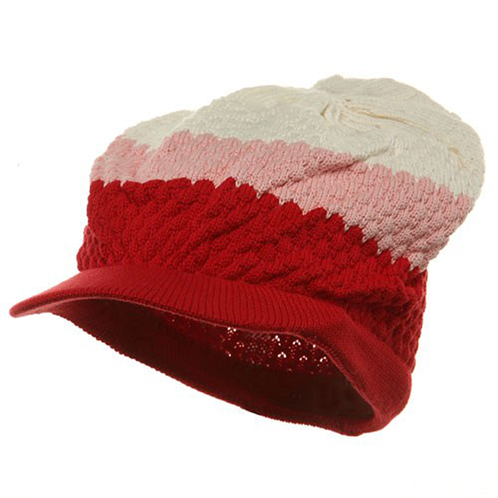 3-Tone Beanie Visors(02)-Red Pink Beige - Hats and Caps Online Shop - Hip Head Gear