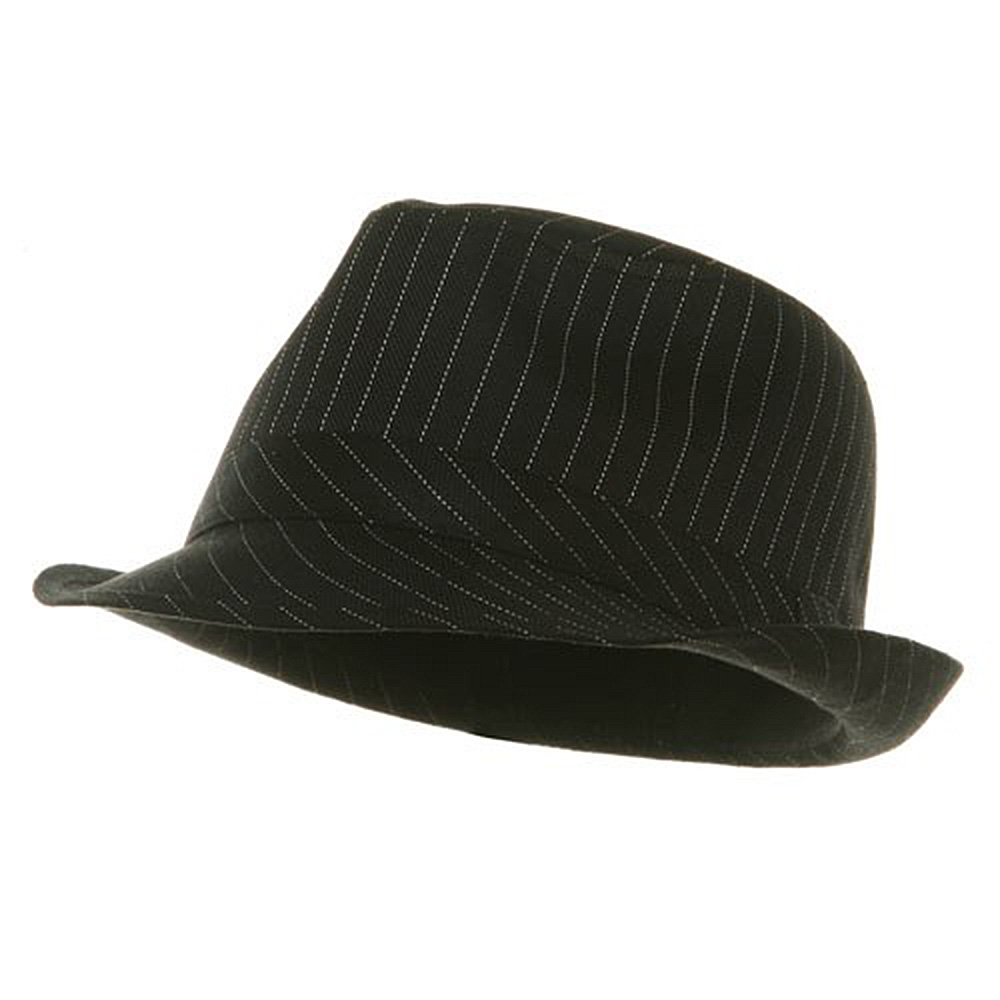 Big Size Pinstripe Fedora Hat-Black White - Hats and Caps Online Shop - Hip Head Gear