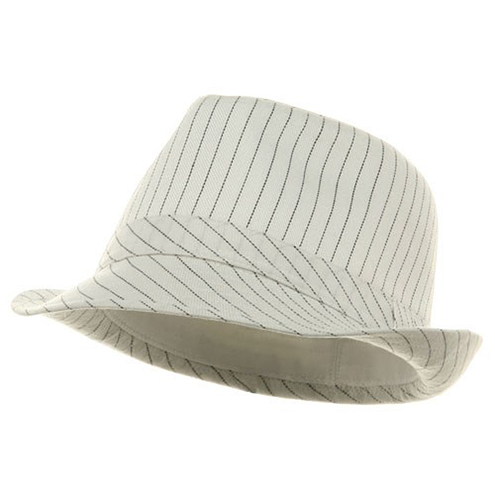 Big Size Pinstripe Fedora Hat-White Black - Hats and Caps Online Shop - Hip Head Gear