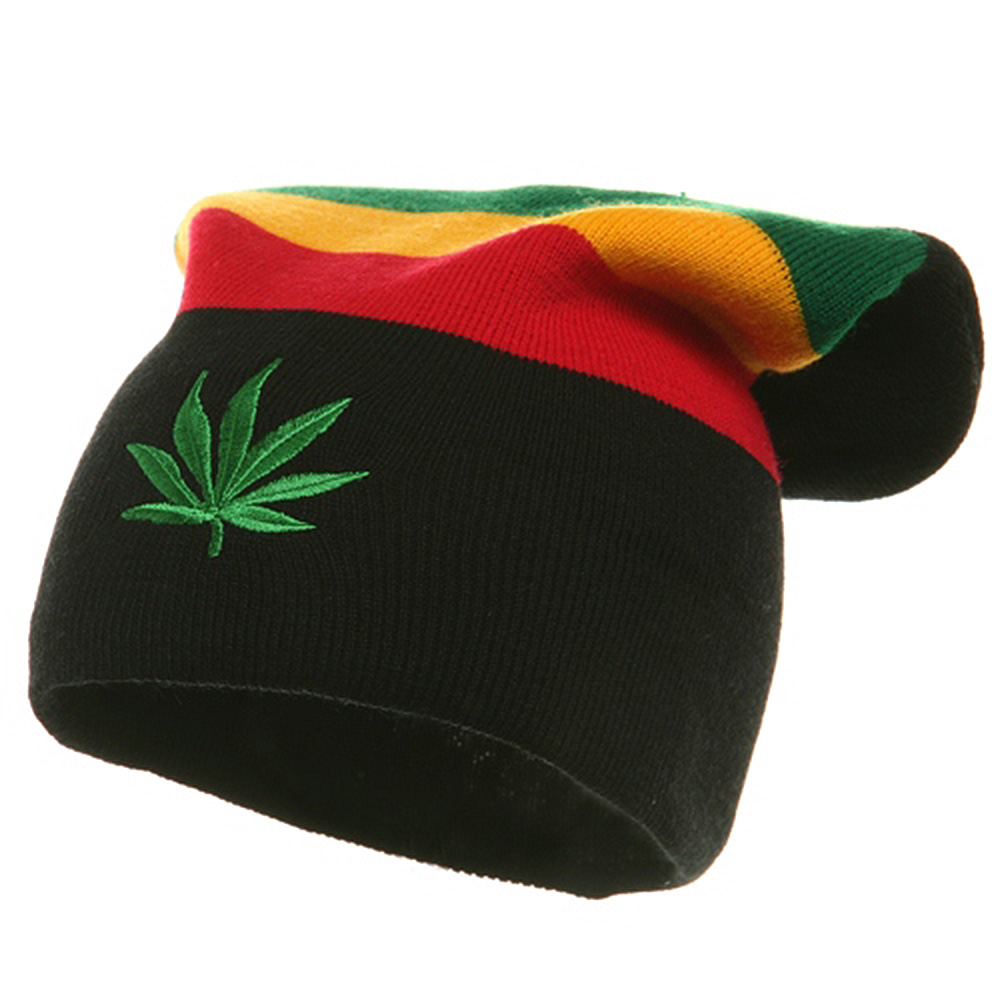 Embroidered Rasta Long Beanie - Leaf - Hats and Caps Online Shop - Hip Head Gear
