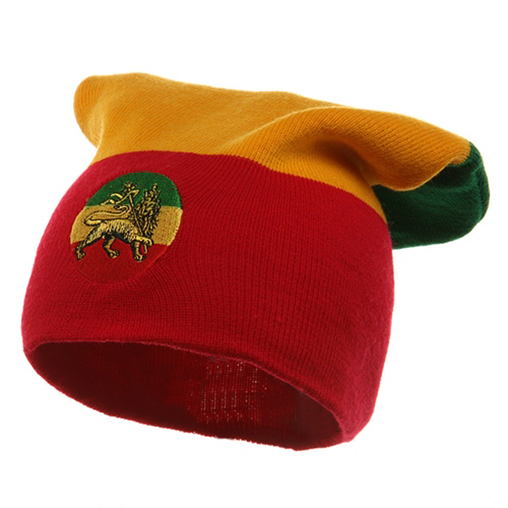 Embroidered Rasta Long Beanie - Lion Green Yellow Red - Hats and Caps Online Shop - Hip Head Gear