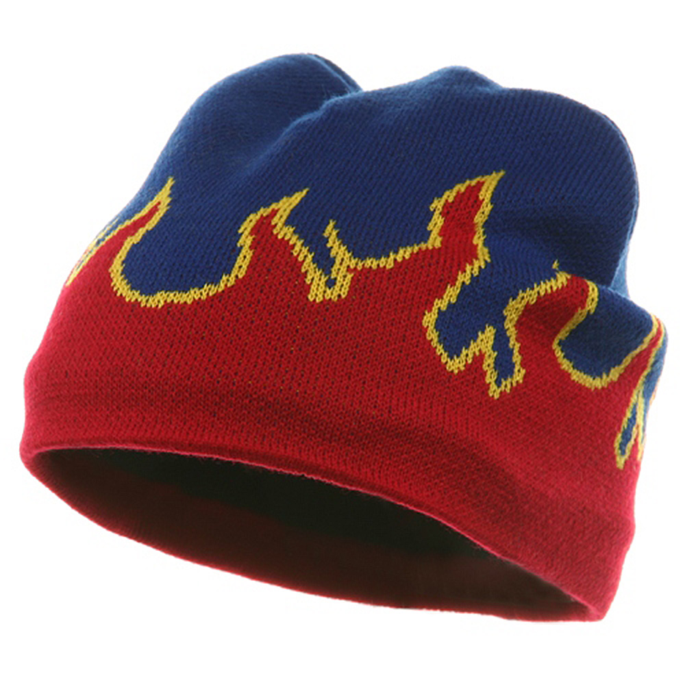 Flame Beanie ( f )-Royal Red - Hats and Caps Online Shop - Hip Head Gear