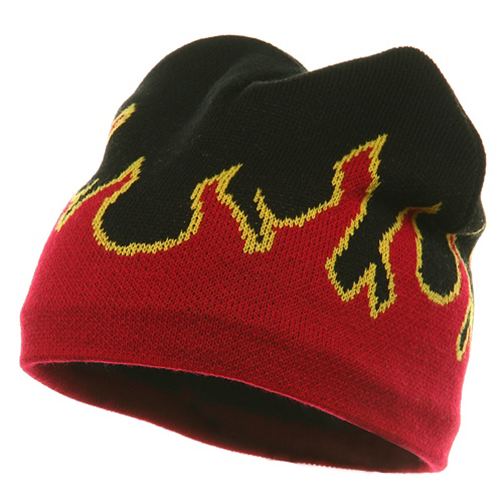 Flame Beanie ( f )-Black Red - Hats and Caps Online Shop - Hip Head Gear