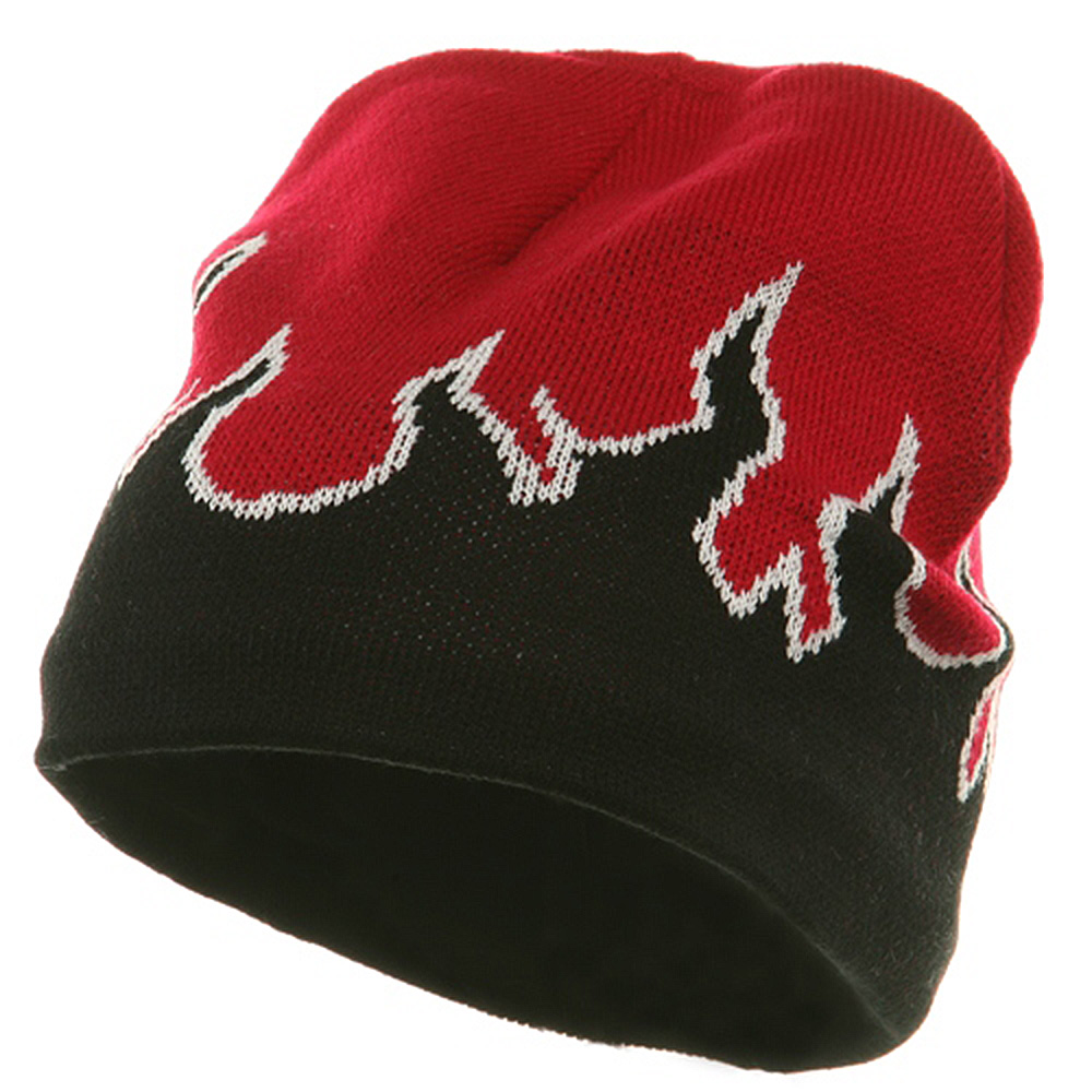 Flame Beanie ( f )-Red White Black - Hats and Caps Online Shop - Hip Head Gear