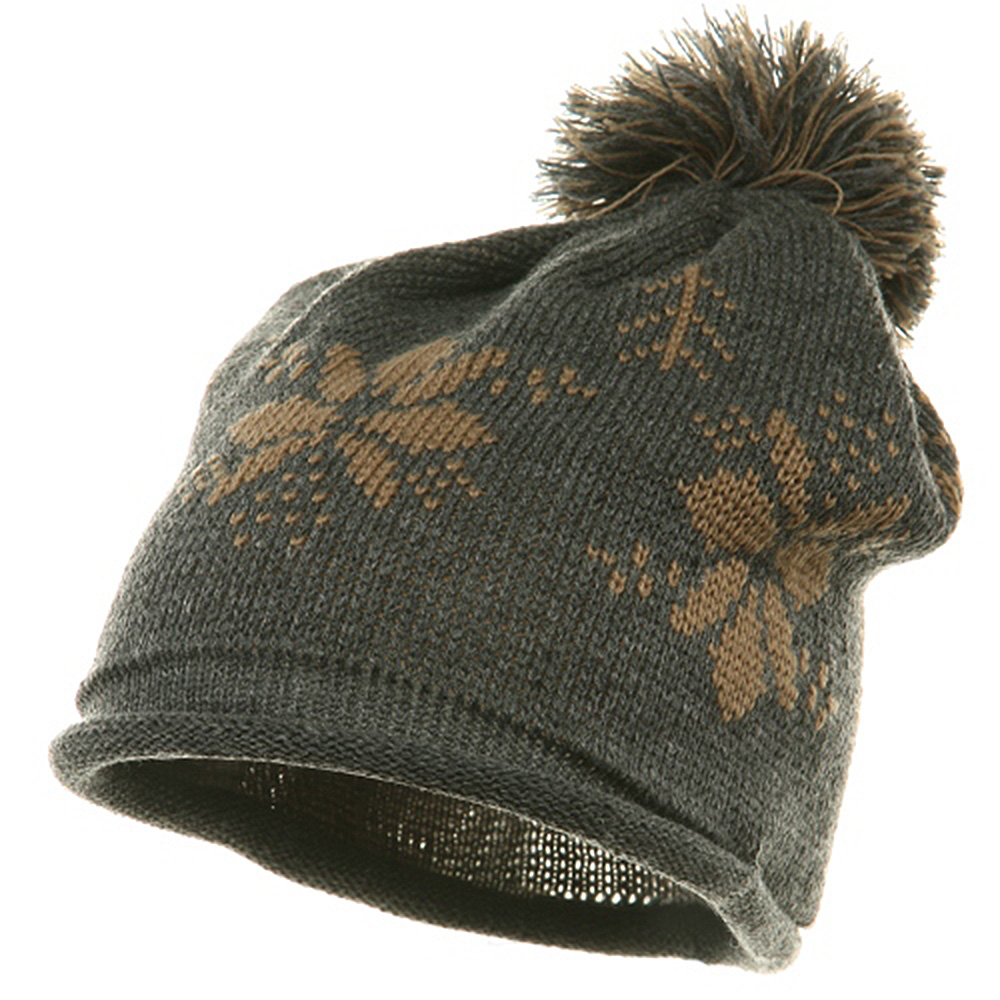 Jacquard Knitted Tassel Beanie-Grey - Hats and Caps Online Shop - Hip Head Gear