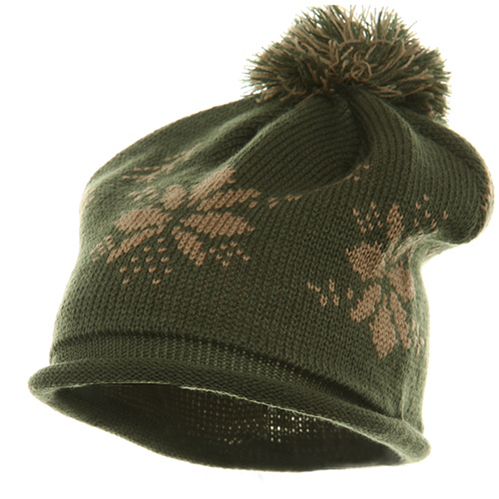 Jacquard Knitted Tassel Beanie-Olive - Hats and Caps Online Shop - Hip Head Gear
