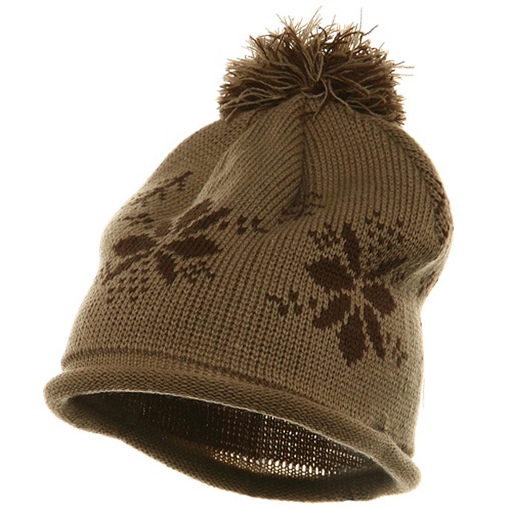 Jacquard Knitted Tassel Beanie-Camel - Hats and Caps Online Shop - Hip Head Gear