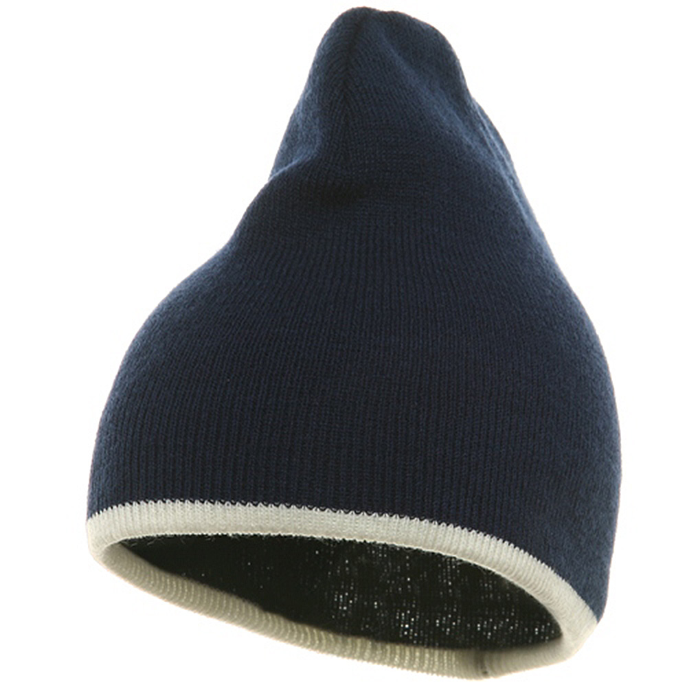 Short Trim Beanie-Navy White - Hats and Caps Online Shop - Hip Head Gear