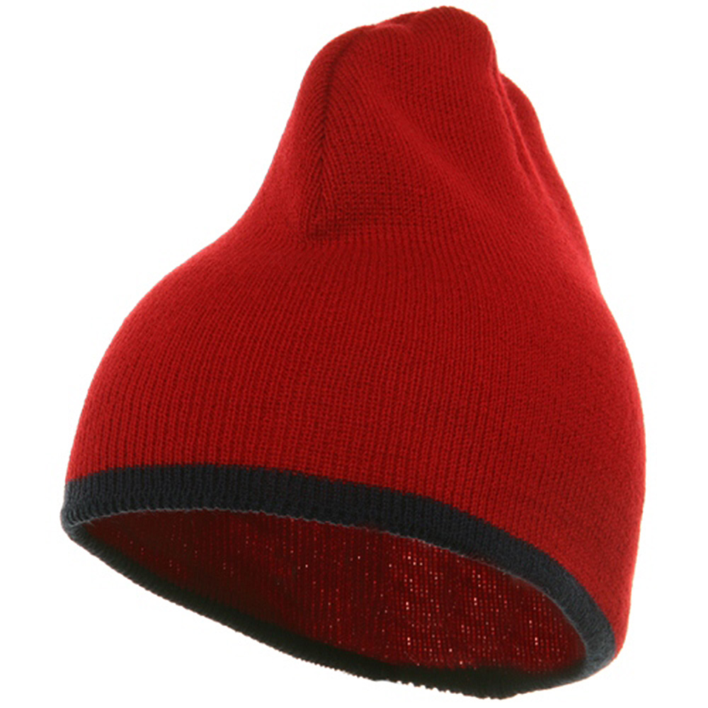 Short Trim Beanie-Red Navy - Hats and Caps Online Shop - Hip Head Gear