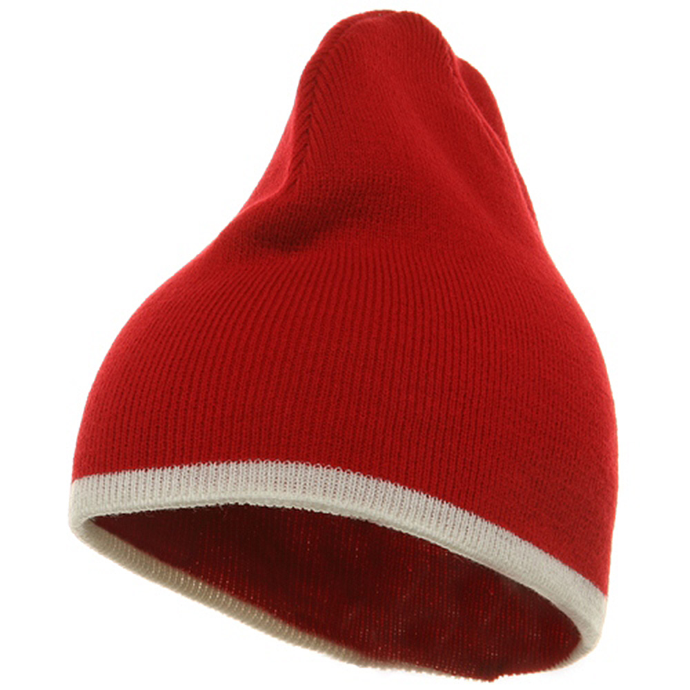 Short Trim Beanie-Red White - Hats and Caps Online Shop - Hip Head Gear