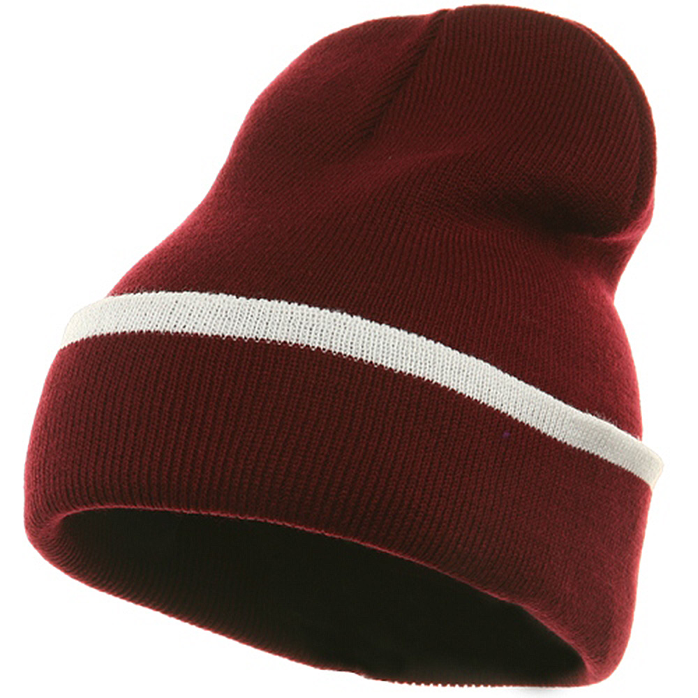 Color Trim Long Beanie-Maroon White - Hats and Caps Online Shop - Hip Head Gear