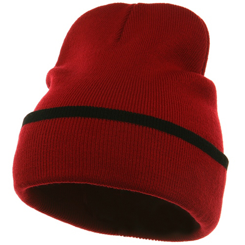 Color Trim Long Beanie-Red Black - Hats and Caps Online Shop - Hip Head Gear