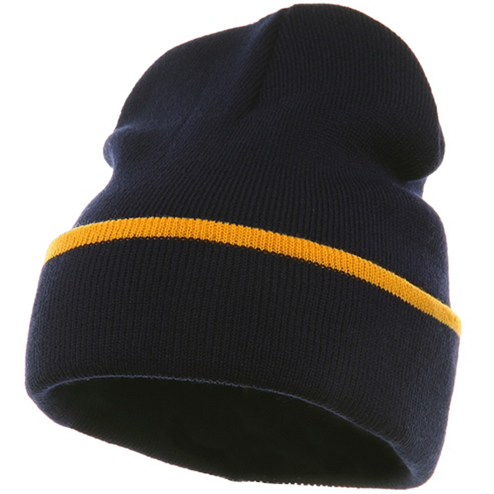 Color Trim Long Beanie-Navy Gold - Hats and Caps Online Shop - Hip Head Gear