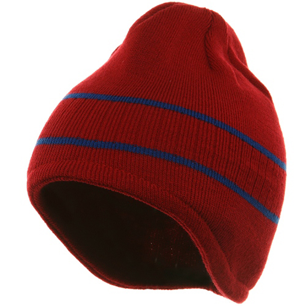 Two Tone Ear Flap Beanie-Red Royal - Hats and Caps Online Shop - Hip Head Gear