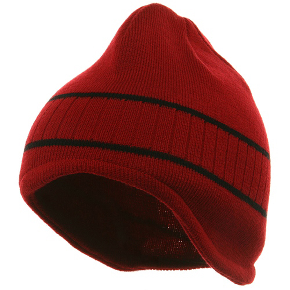 Two Tone Ear Flap Beanie-Red Black - Hats and Caps Online Shop - Hip Head Gear
