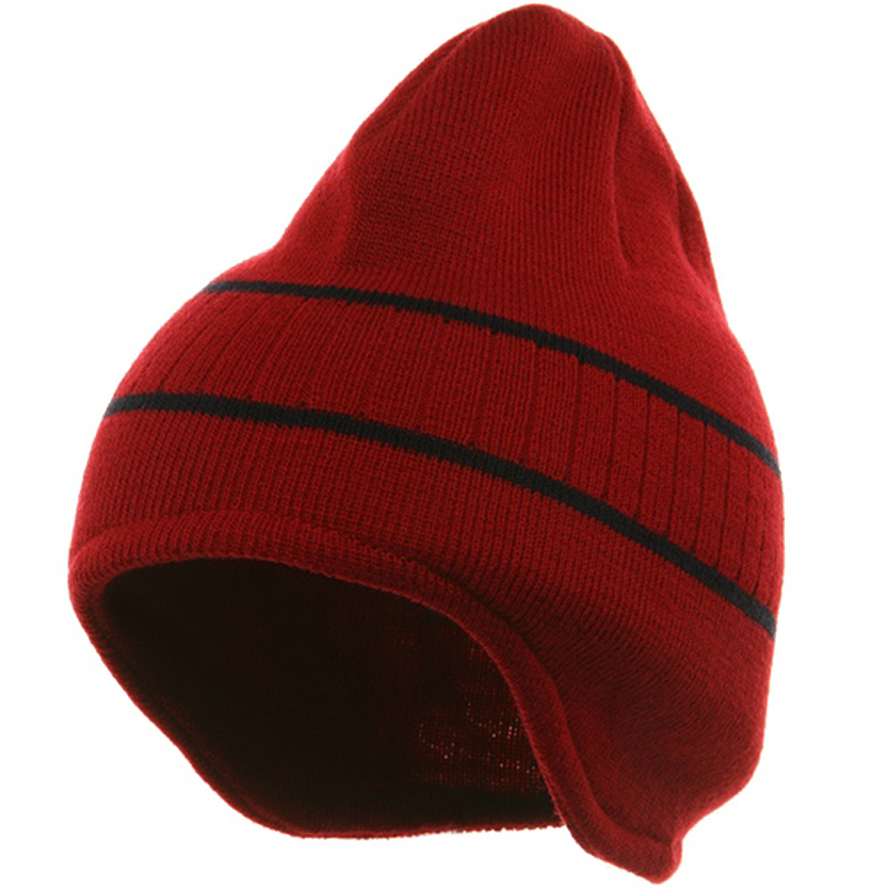 Two Tone Ear Flap Beanie-Red Navy - Hats and Caps Online Shop - Hip Head Gear