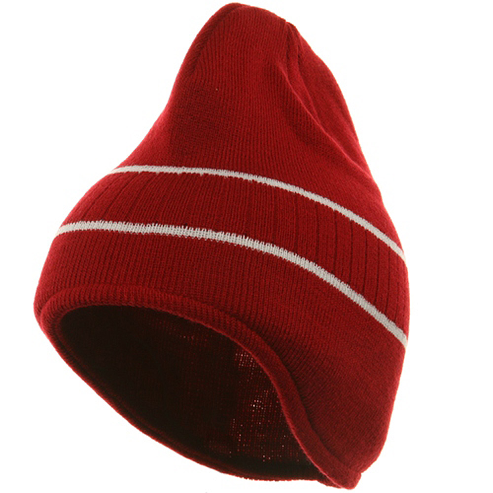 Two Tone Ear Flap Beanie-Red White - Hats and Caps Online Shop - Hip Head Gear