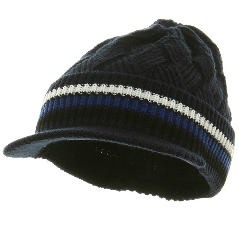 Acrylic Rasta Beanie Visor-Navy White - Hats and Caps Online Shop - Hip Head Gear