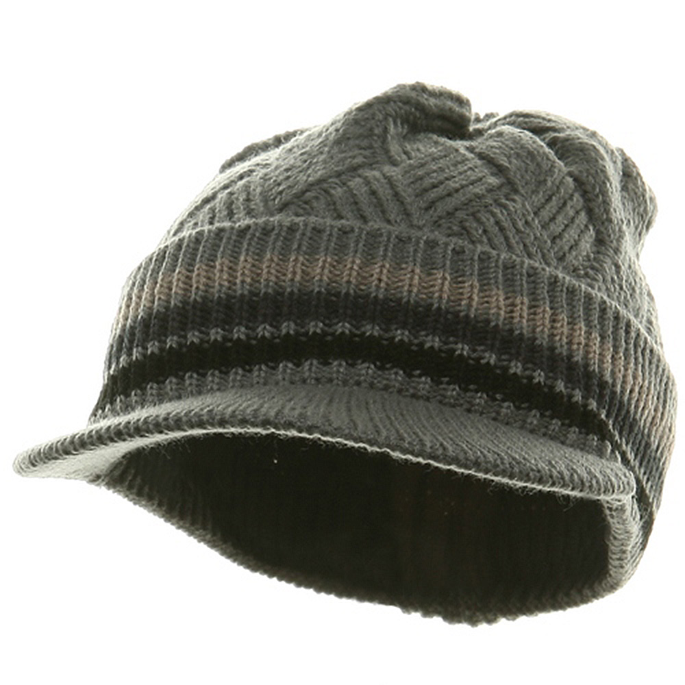 Acrylic Rasta Beanie Visor-Grey Black - Hats and Caps Online Shop - Hip Head Gear