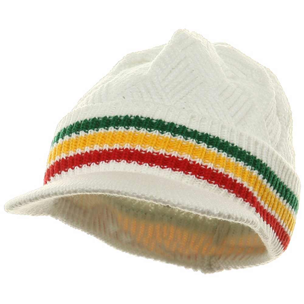 Acrylic Rasta Beanie Visor-Green Yellow Red - Hats and Caps Online Shop - Hip Head Gear