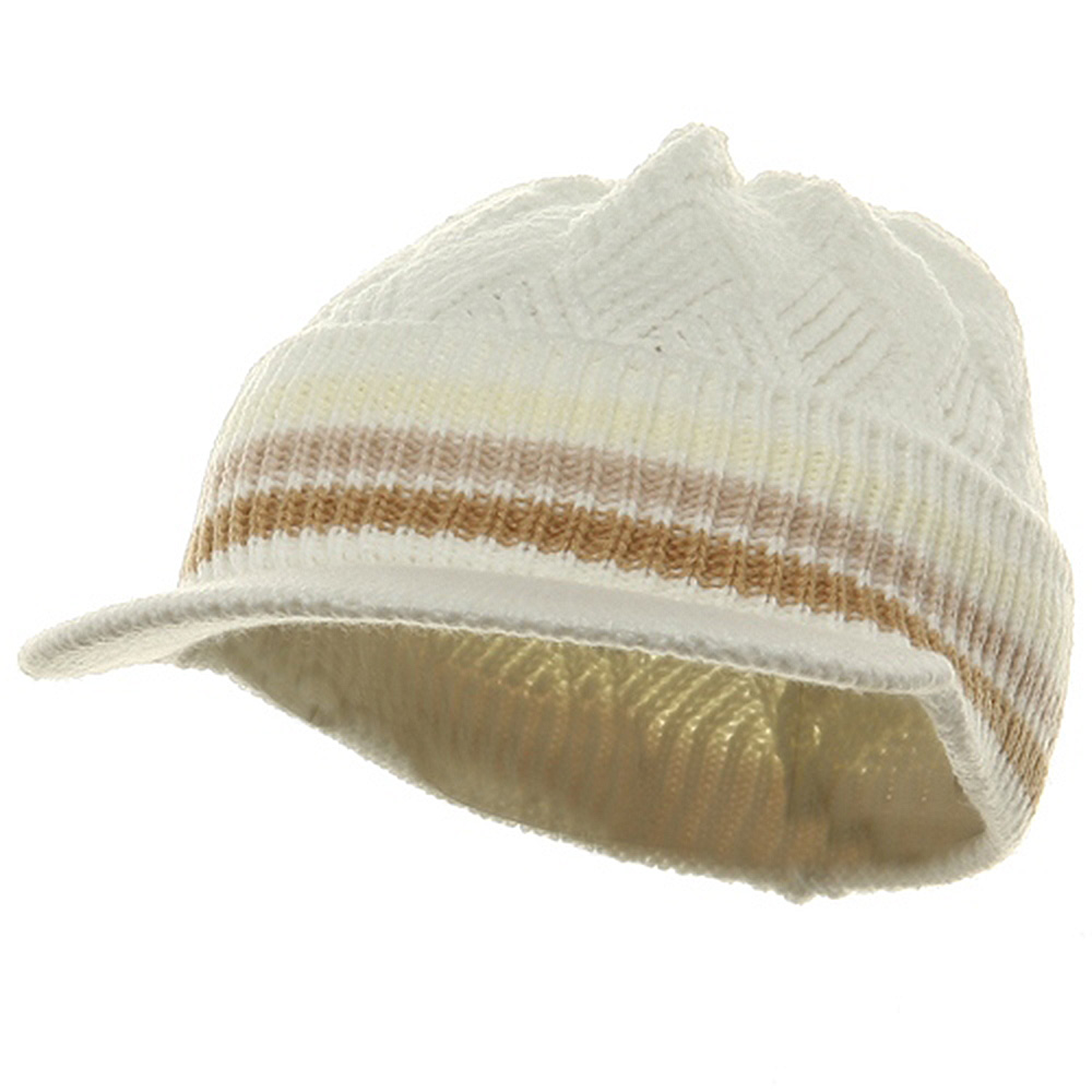 Acrylic Rasta Beanie Visor-Ivory Beige Khaki - Hats and Caps Online Shop - Hip Head Gear