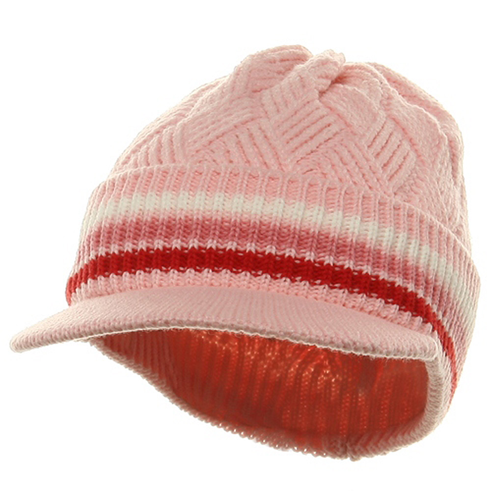 Acrylic Rasta Beanie Visor-Pink White Pink - Hats and Caps Online Shop - Hip Head Gear