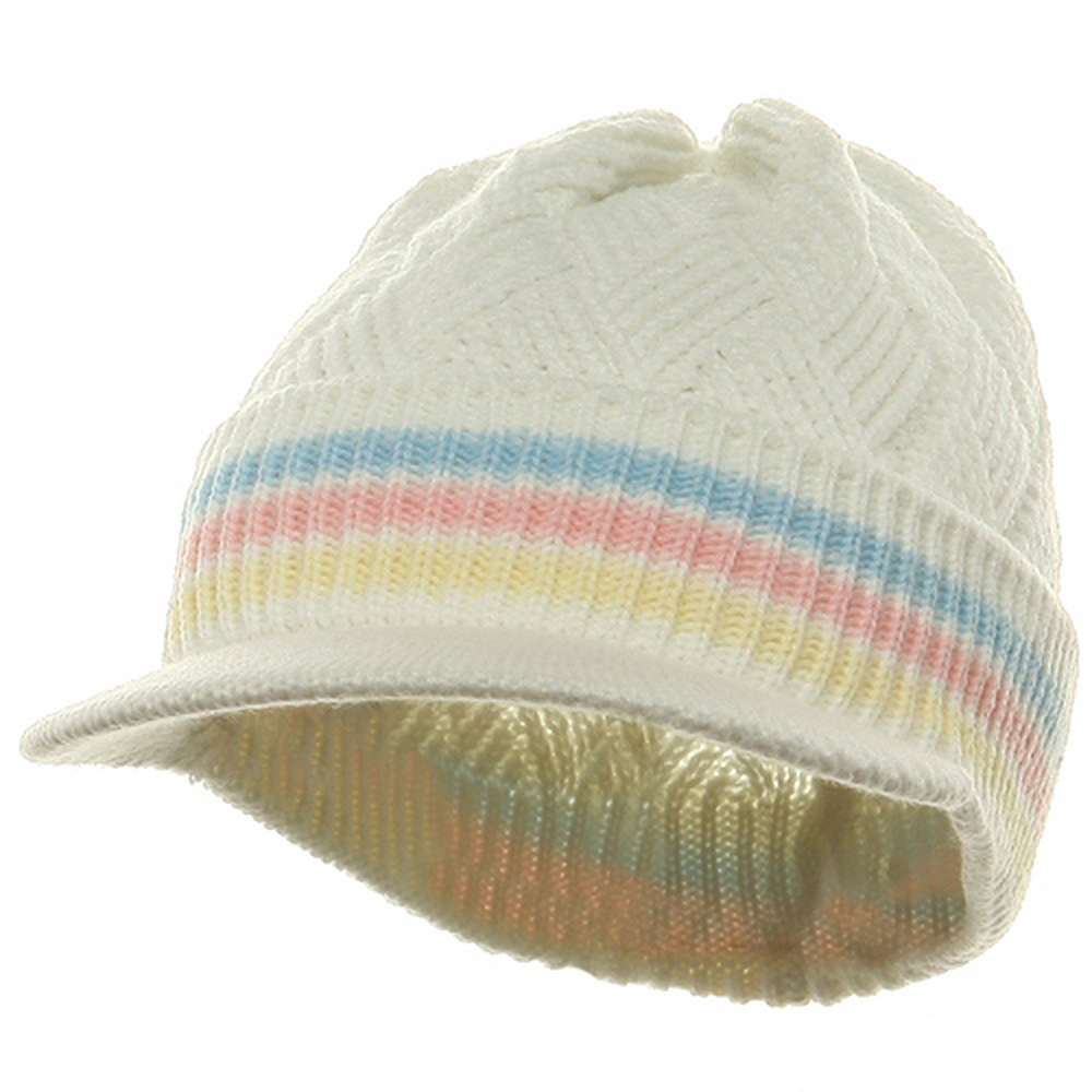Acrylic Rasta Beanie Visor-Ivory Sky Pink - Hats and Caps Online Shop - Hip Head Gear