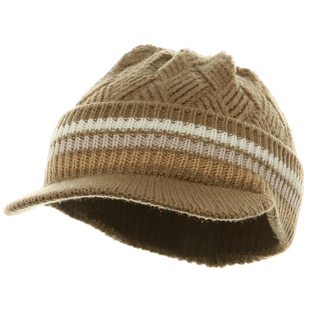 Acrylic Rasta Beanie Visor-Khaki Pink Ivory - Hats and Caps Online Shop - Hip Head Gear