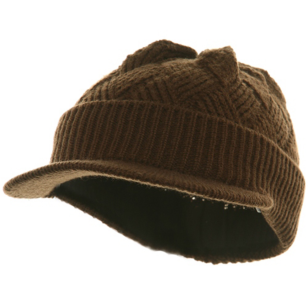 Acrylic Plain Beanie Visor-Brown - Hats and Caps Online Shop - Hip Head Gear