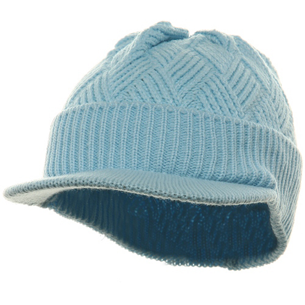 Acrylic Plain Beanie Visor-Baby Blue - Hats and Caps Online Shop - Hip Head Gear