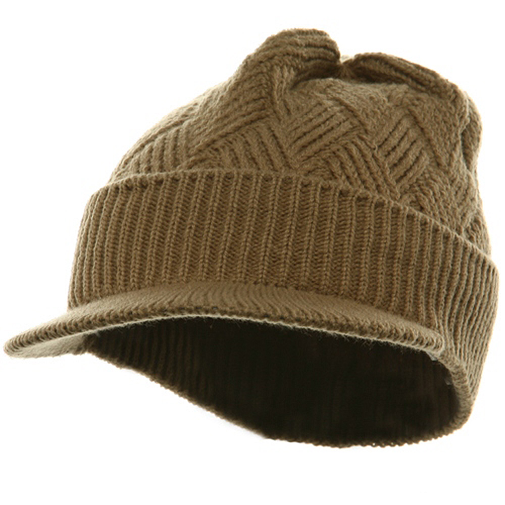 Acrylic Plain Beanie Visor-Khaki - Hats and Caps Online Shop - Hip Head Gear