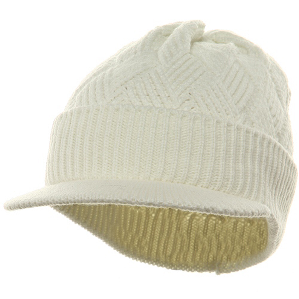 Acrylic Plain Beanie Visor-White - Hats and Caps Online Shop - Hip Head Gear