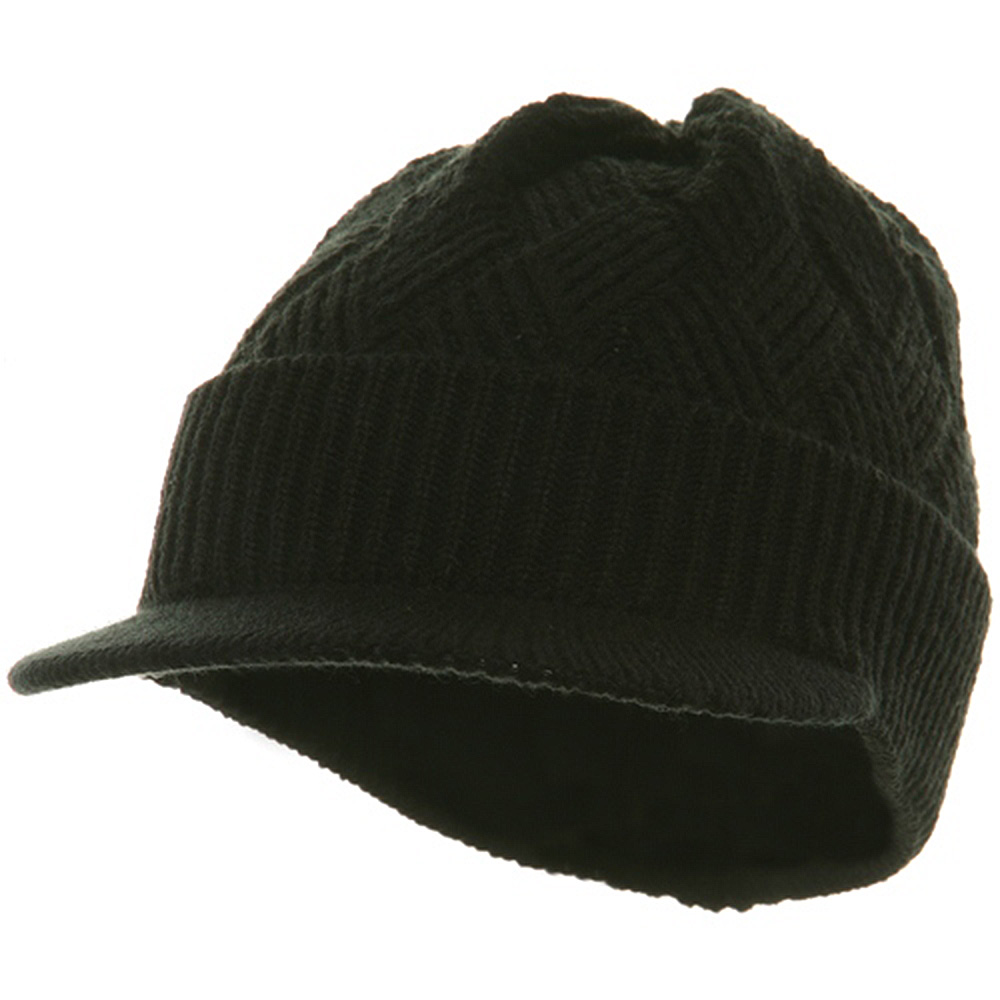 Acrylic Plain Beanie Visor-Black - Hats and Caps Online Shop - Hip Head Gear