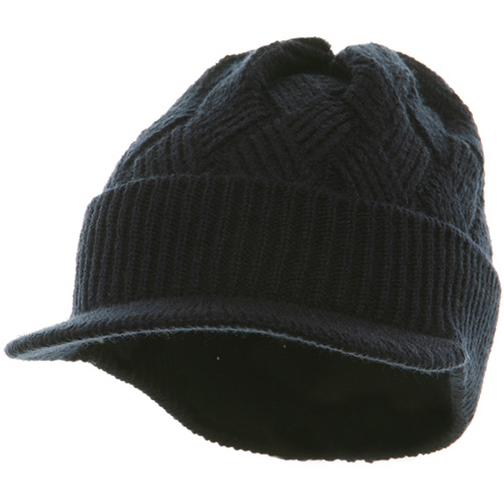 Acrylic Plain Beanie Visor-Navy - Hats and Caps Online Shop - Hip Head Gear