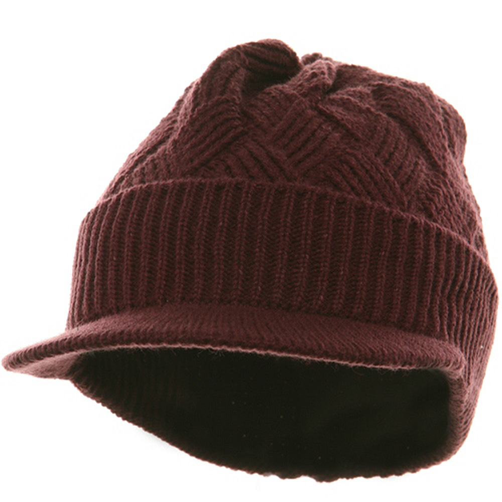 Acrylic Plain Beanie Visor-Burgundy - Hats and Caps Online Shop - Hip Head Gear