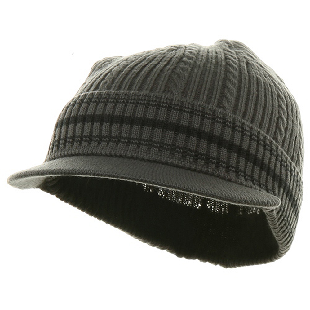 New Cable Beanie Visor-Grey Black - Hats and Caps Online Shop - Hip Head Gear