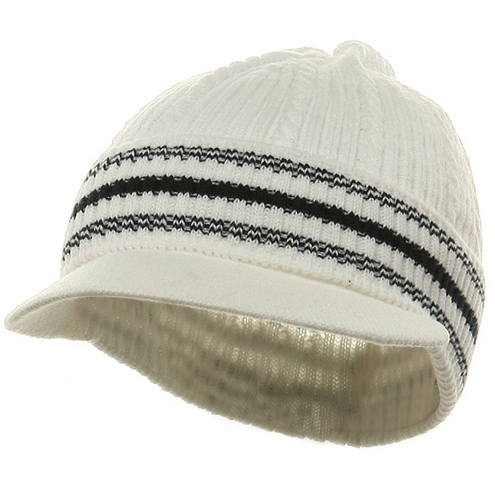 New Cable Beanie Visor-White Navy - Hats and Caps Online Shop - Hip Head Gear