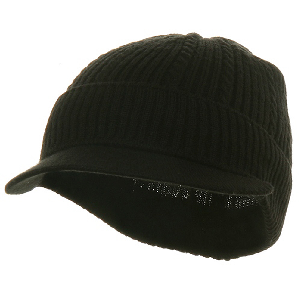 New Cable Beanie Visor-Solid Black - Hats and Caps Online Shop - Hip Head Gear