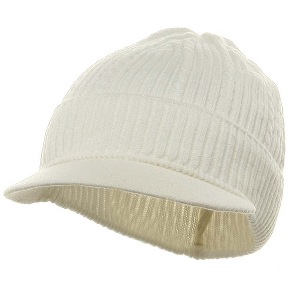 New Cable Beanie Visor-Solid White - Hats and Caps Online Shop - Hip Head Gear