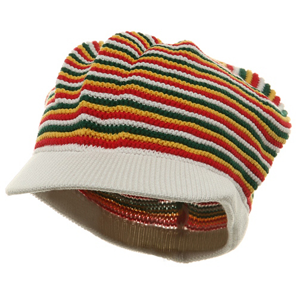 Star Rasta Beanie Visors-White RGY - Hats and Caps Online Shop - Hip Head Gear