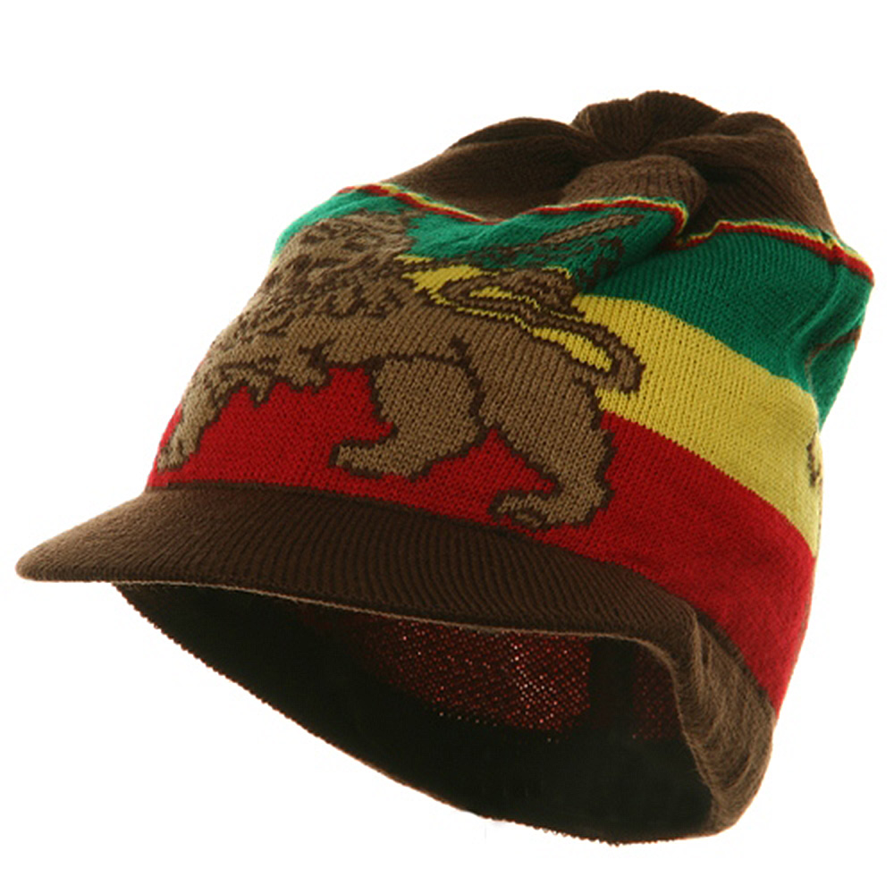 Small Lion Rasta Beanie Visor Hat-Brown RGY - Hats and Caps Online Shop - Hip Head Gear