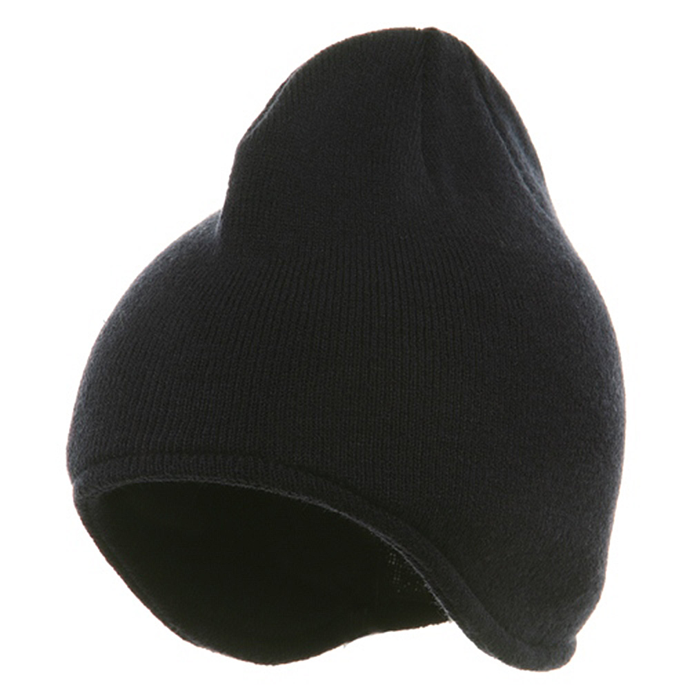 Acrylic Fleece Knit Beanies-Navy