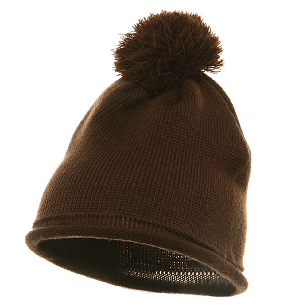 Fine Guage Acrylic Knitting Hat-Brown - Hats and Caps Online Shop - Hip Head Gear