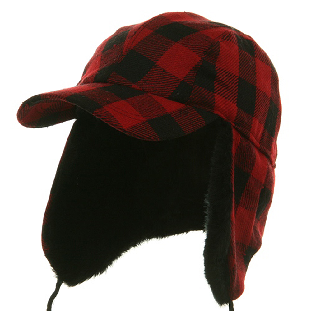 Buffalo Plaid Hunter Cap - Red - Hats and Caps Online Shop - Hip Head Gear