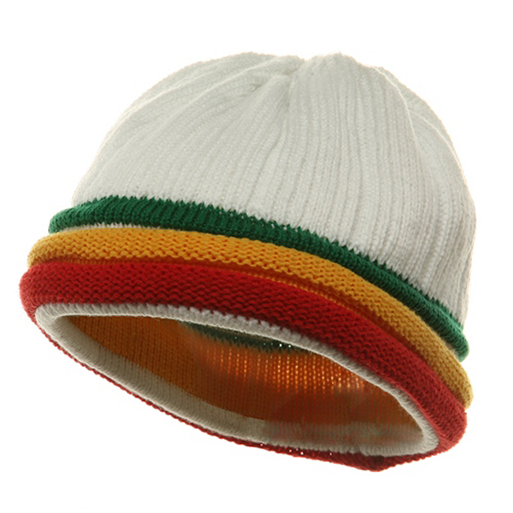 3 Color Brim Beanie - White RGY - Hats and Caps Online Shop - Hip Head Gear