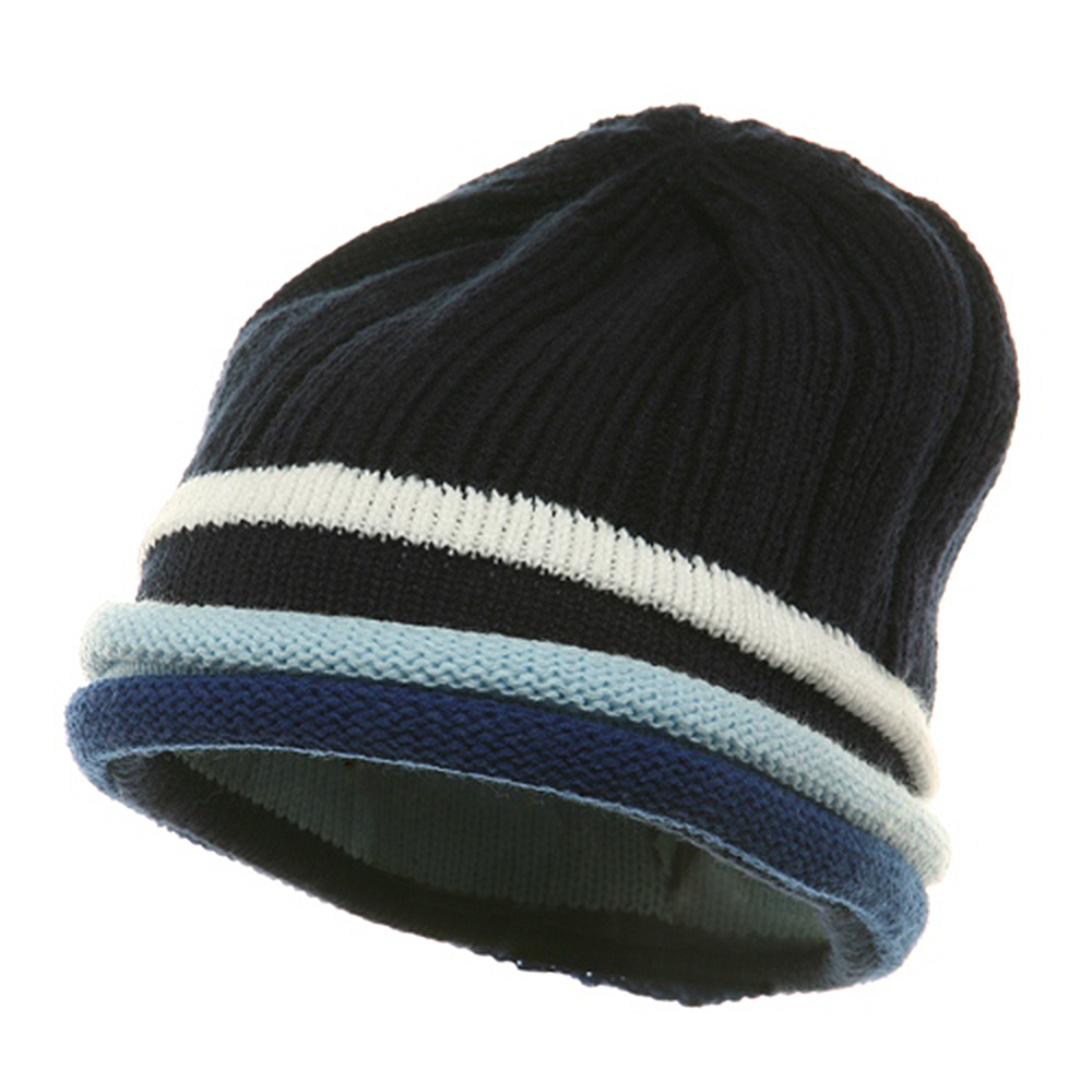 3 Color Brim Beanie - Navy Royal - Hats and Caps Online Shop - Hip Head Gear