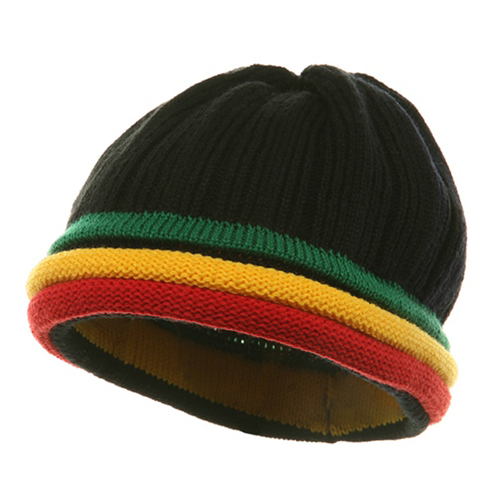 3 Color Brim Beanie - Black Red - Hats and Caps Online Shop - Hip Head Gear