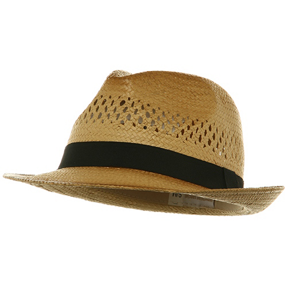 Vented Straw Fedora Hat-Black Band - Hats and Caps Online Shop - Hip Head Gear